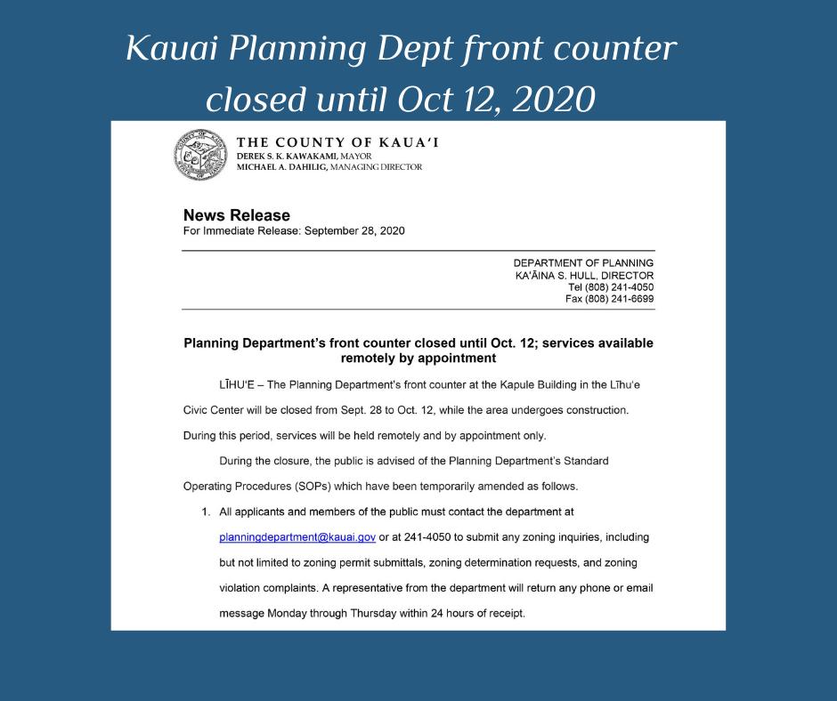 Kauai Planning Dept - update