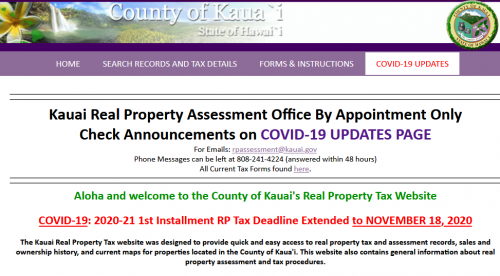 Kauai real property tax due 2020